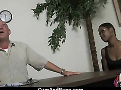 Busty Ebony Whore Gangbanged And Covered In Cum 14