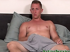 Solo soldier stud jerking cock