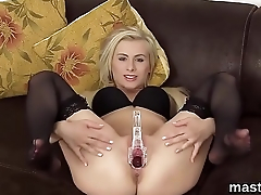 Horny czech cutie opens up her slim twat to the limit
