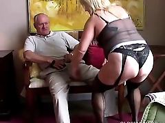 Cute old spunker in erotic stockings loves to suck load of shit and eat cum