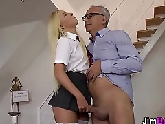 Teen gets old dude cum
