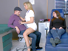 Hot nurse Julia Ann seduces stud right near his sleeping girlfriend