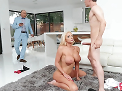 Beneficent wife Nicolette Shea acquires caught cheating and luring a facial from the horse jockey