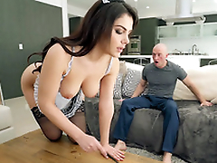 Valentina Nappi in french maid uniform is cleaning the accommodation billet