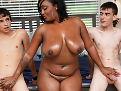 Ebony Mom Having Fun With Stepson and His Band together
