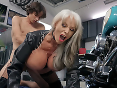 Sally D'Angelo gets pounded by youthful Ricky Spanish next to her Harley