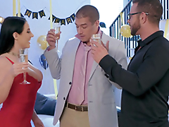 Drunk Angela White is fearful with sleeping husband wanting XXX act