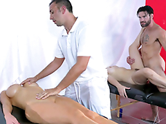 Dani Daniels and Nikki Benz trade massage for XXX  sex with therapists