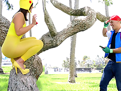 XXX-hung pokemon lover goes crazy about Kelsi Monroe's dear butt