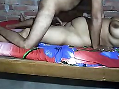 Desi Couple Playing time with dick with an increment of gut in the blanket