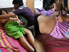 Desi Threesome Indian Randi Bhabhi Boobs pressing and romance