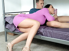 Guy permits friend's mom Rachel Starr to suck his XXX rod on bunk bed
