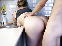 Hot blonde step-sister fucks for ages c in depth washing dishes  4K