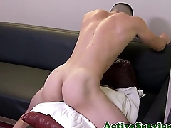 Ripped soldier masturbating to the fore cumshot