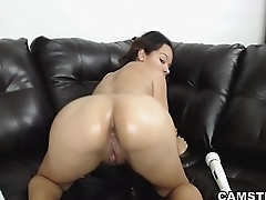 Latina plugs anal toy while vibrating and toying her shaved pussy